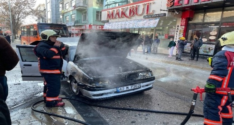 Ankara Polatlı'da Alev Alan Araç Cayır Cayır Yandı
