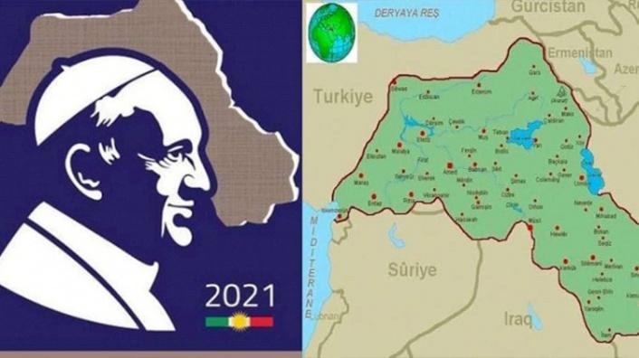 Barzani'nin Papa Pulu'nda Bölücü Harita!