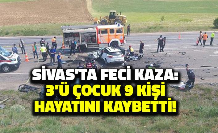 Sivas'ta Feci Kaza: 3'ü Çocuk 9 Kişi Hayatını Kaybetti!