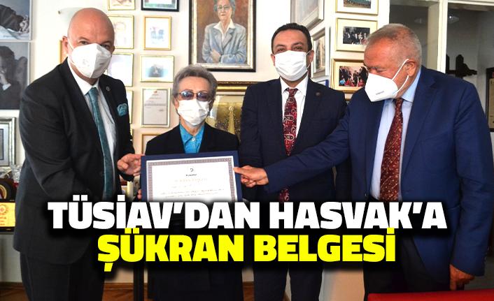 TÜSİAV'dan HASVAK Başkanı Engin Öztürk'e Şükran Belgesi