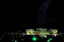 Beştepe'de 300 İHA ile Atatürk Silüeti