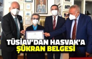 TÜSİAV'dan HASVAK Başkanı Engin Öztürk'e...