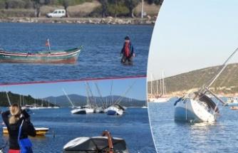 Görüntüler az önce geldi: Seferihisar'da deniz çekildi